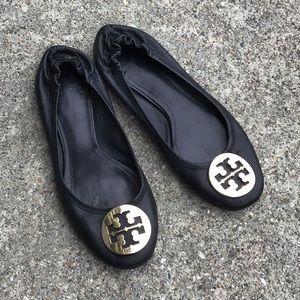 Tory Burch Ballet Flat Black Gold Hardware 8